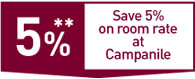 Work committees offer - Save 5% on room rate at Campanile